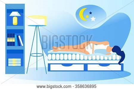 Orthopedic Mattress Infomercial Poster. Bedroom With Shelving And Standard Lamp. Young Woman In Unde
