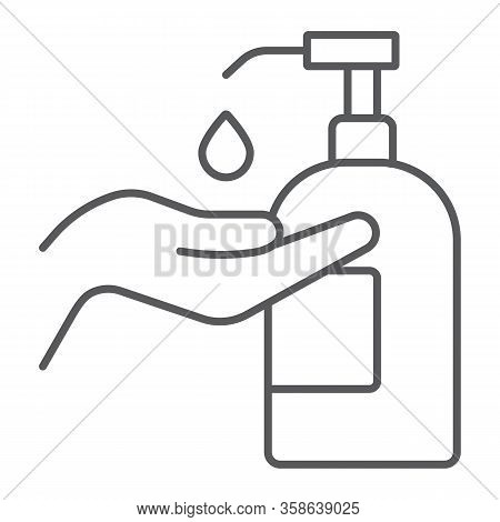 Disinfection Soap With Hand Thin Line Icon, Wash And Hygiene, Hand Soap Sign, Vector Graphics, A Lin