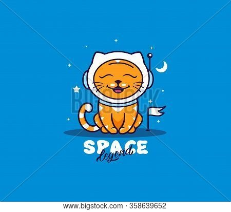 A Little Cat, Logo With Text Space Legend. Funny Kitty Cartoon Character
