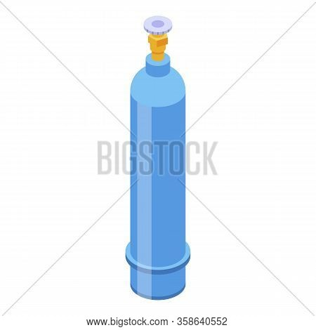 Gas Oxygen Cylinder Icon. Isometric Of Gas Oxygen Cylinder Vector Icon For Web Design Isolated On Wh