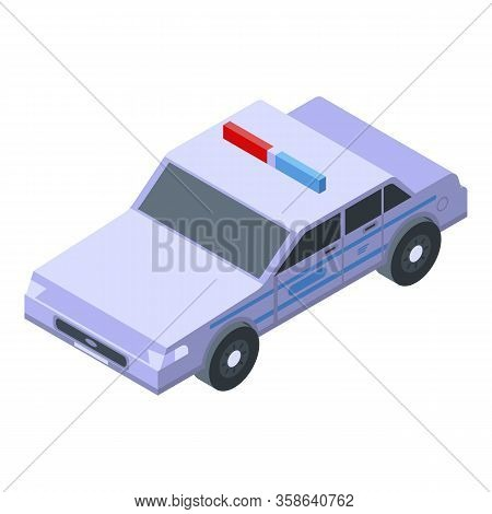 Patrol Police Car Icon. Isometric Of Patrol Police Car Vector Icon For Web Design Isolated On White