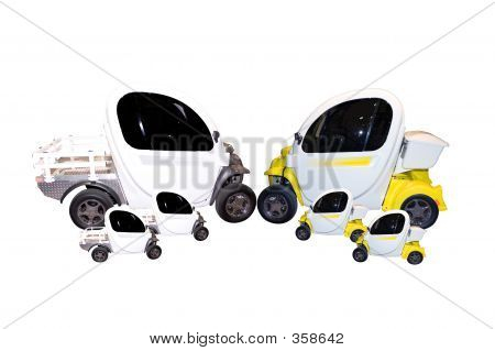 a group of modern looking cars. made to look like a family with mom and dad and 4 kids. isolated on a white background. poster