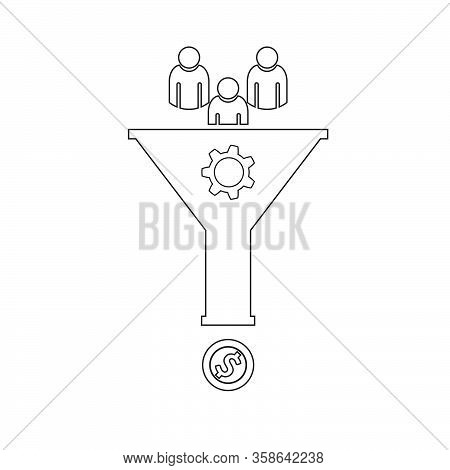 Sales Funnel Icon Web Line Design Vector Eps 10