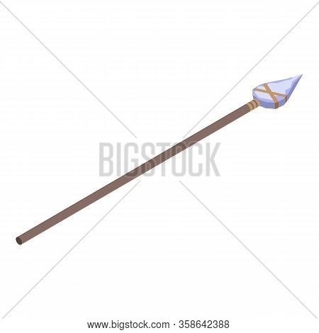 Stone Age Spear Icon. Isometric Of Stone Age Spear Vector Icon For Web Design Isolated On White Back