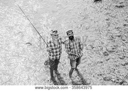 Fish Normally Caught In Wild. Summer Leisure. Men Bearded Fishermen. Weekends Made For Fishing. Acti
