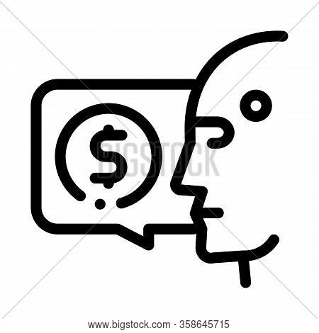Money Issue Of Robot Icon Vector. Money Issue Of Robot Sign. Isolated Contour Symbol Illustration