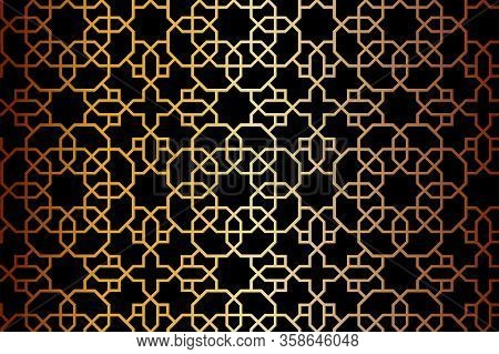 Black And Gold Vector Pattern, Background, Texture, Wrapping. Dark Arabesque Traditional Rich, Golde