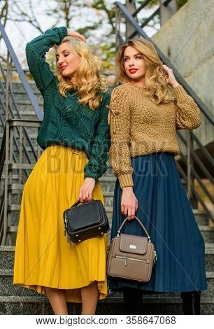 Feeling Comfortable. Knitwear Fashion For Youth. Charm. Stylish Autumn Women Outdoor. Girl Friends G