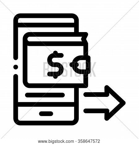 Card Payment Via Smartphone Icon Vector. Card Payment Via Smartphone Sign. Isolated Contour Symbol I