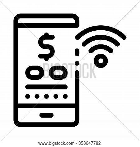 Money Management Through Wi-fi Distribution Icon Vector. Money Management Through Wi-fi Distribution
