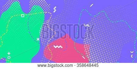 Colorful Memphis Page. Fashion Geometric Illustration. Futuristic Fluid Backdrop. Multicolor Flow Pa
