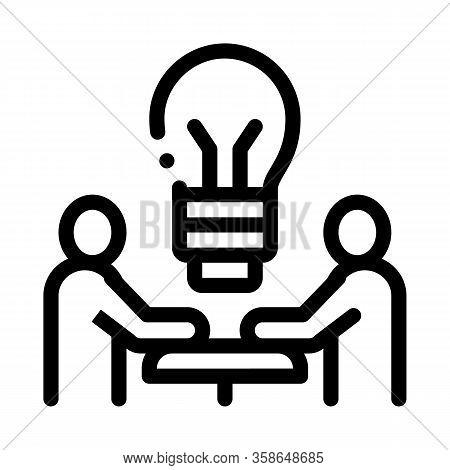 Brain Problem Solving Icon Vector. Brain Problem Solving Sign. Isolated Contour Symbol Illustration