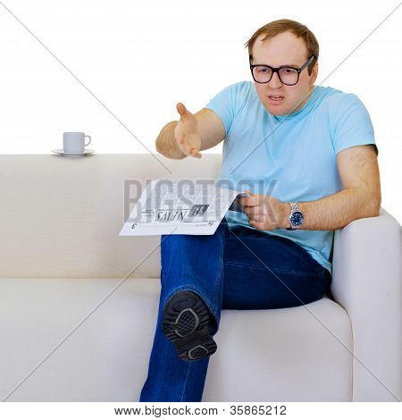Funny Man Dissatisfied With News From The Newspaper