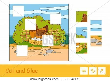 Cut And Glue Puzzle Learning Children Game With Color Image Of Brood Chicken Sitting On Eggs In Nest