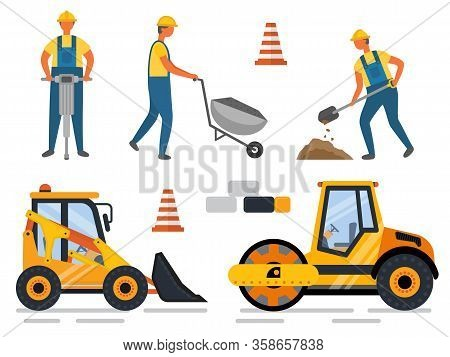 Construction Equipment And People Working Vector. Man With Shovel Digging Hole, Carriage Loader And