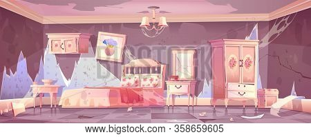 Old Dirty Bedroom In Shabby Chic Style With Broken Furniture. Vector Cartoon Illustration Of Empty A