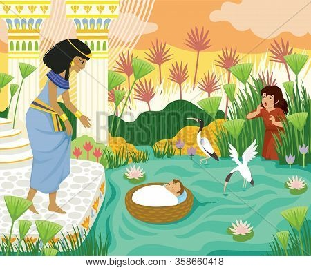 Passover Biblical Story Of Baby Moses In The Basket Floating On The Nile Towards Pharaohs Daughter W