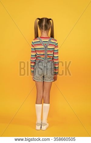 Girl Cute Child Long Hair Double Ponytails Hairstyle Rear View. Prevent Split Ends. Treatment Hair B