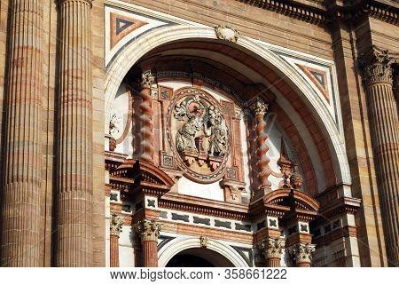 View Of The Cathedrals Chain Gate Door (puerta De Las Cadenas), Malaga, Costa Del Sol, Malaga Provin