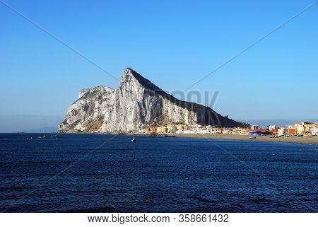 The Rock Of Gibraltar (united Kingdom) Viewed From La Atunara, Costa Del Sol, Cadiz Province, Andalu