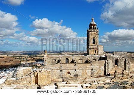 Medieval Town Wall And Santa Maria Church Bell Tower, Medina Sidonia, Cadiz Province; Andalucia, Spa