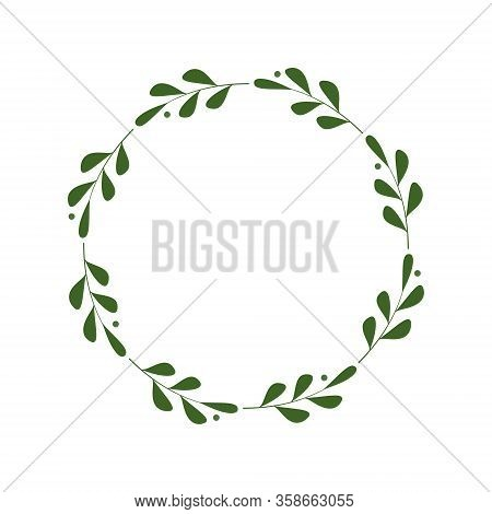 Round Frame Of Green Twigs With Leaves And Berries. Design Template For Logo, Invitation, Greetings.