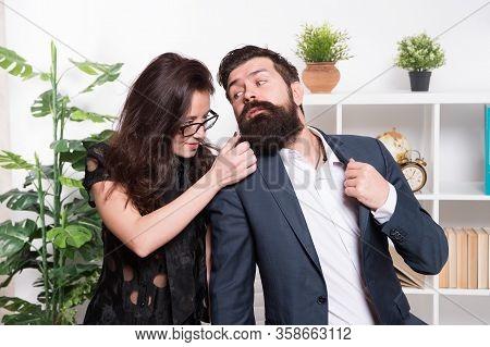 Beard Or Barb. Career Woman Touch Hipster Beard. Unshaven Businessman With Long Beard Hair. Bearded