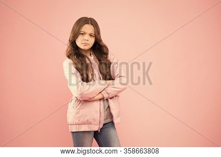 Stylish Outfit For Crispy Autumn Days. Stylish Girl Keep Arms Crossed In Casual Outerwear. Serious L