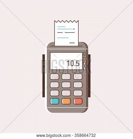 Cartoon Payment Machine With Paper Receipt Vector Flat Illustration. Modern Pos Terminal With Colorf