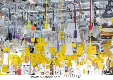 Kiev, Ukraine. July 19 2019 Shop Fixtures For Lamps And Lighting. Large Selection Of Lamps For The I