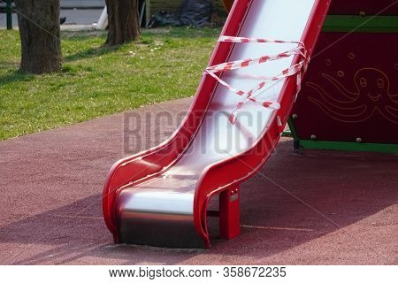 Closed Childrens Playground. Ban On Children S Playgrounds. Prevention Of Coronavirus Covid-19. The