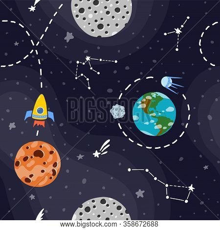 Planet Pattern With Constellations And Stars. Rocket Space Travel. Cute Design For Kids Fabric And W