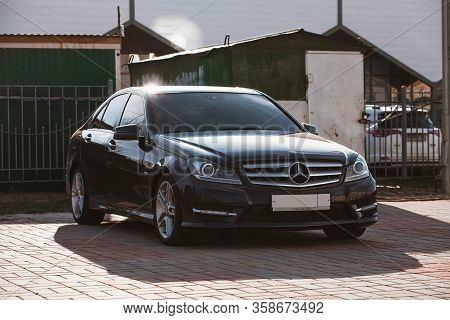 Black Mercedes-benz Standing In The Open Air. Russia Moscow March 30 2020