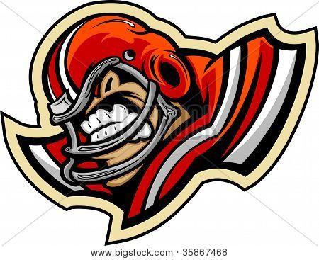 Football Player Mascot Wearing Helmet Vector Illustration