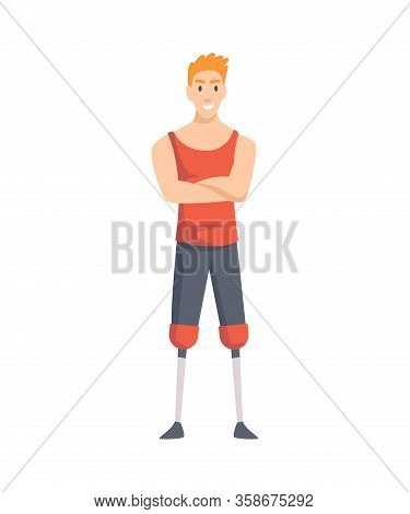 Young Guy With Prosthetic Both Legs. Man Prosthetic Foots, Sportsman With Amputation, Disability Per