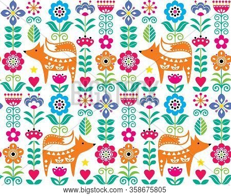 Scandinavian Or Nordic Folk Art Vector Seamless Pattern With Flowers And Fox, Floral Textile Design