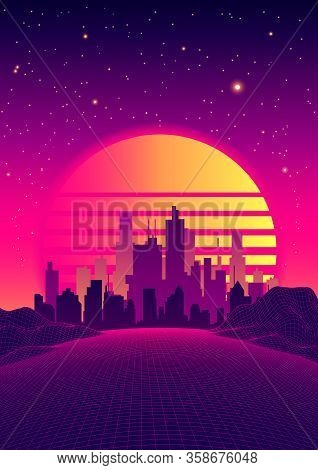 Retro Neon Poster In 80s Sci-fi Style. Futuristic City And Fantastic Landscape On Digital Retro Land