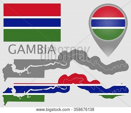 Colorful Flag, Map Pointer, Map Of Gambia In The Colors Of The Gambian Flag And Blank Map. High Deta