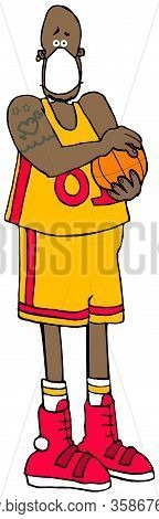 Illustration Of A Black Basketball Player Holding A Ball And Wearing A Face Mask.
