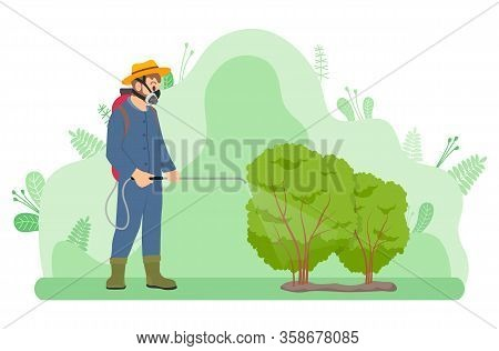 Plants And Gardening, Gardener Fertilizes Or Treats Bushes From Insects In Uniform Vector. Guy In Ma