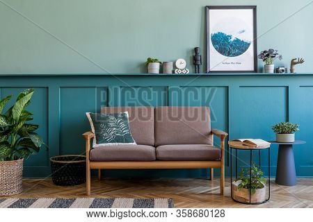 Stylish Interior Of Living Room With Brown Wooden Sofa, Design Furnitures And Elegant Interior Acces