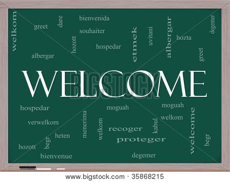 Welcome Foreign Language Word Cloud On Blackboard