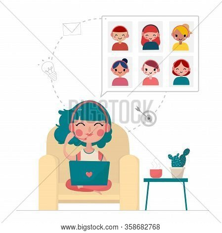 Flat Vector A Young Woman Meeting With Friends And Working On Laptop At Home, Stay At Home, Work Fro