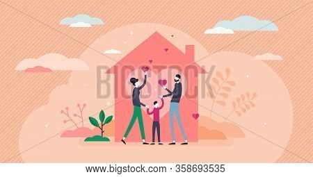 Home Love Vector Illustration. Covid-19 Coronavirus Stay Home Strategy Flat Tiny Persons Concept. Fa