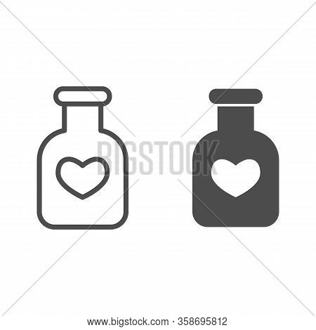 Potion Flask Line And Solid Icon. Bottle Of Love Spell Elixir And Heart Shape Symbol, Outline Style