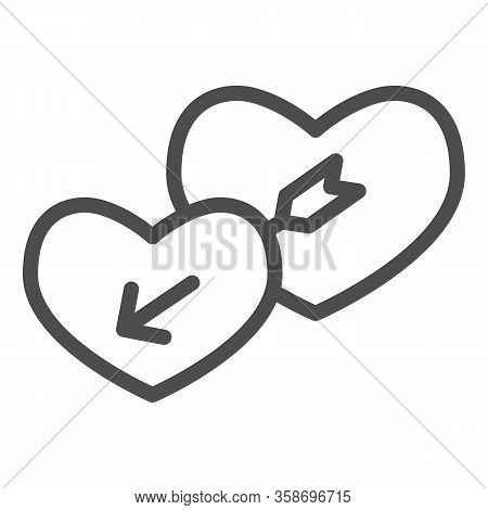 Lovers Hearts Line Icon. Amour Shape Of Heart And Cupids With Arrow Symbol, Outline Style Pictogram