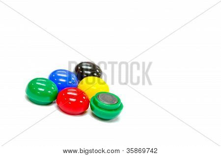Five color round magnets group isolated on white