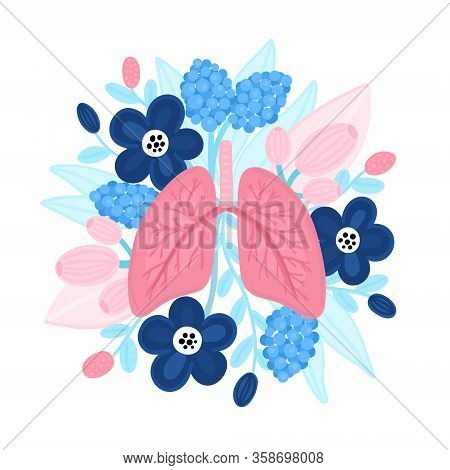 Vector Healthy Lungs On Flowers. Illustration For Label, Advertisement Of Pulmonary Medicine, Poster