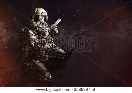 Paintball Tactical Support Male Player With Gun.