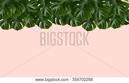Tropical Beach. Floral Jungle Palm Background. Vector Tropic Illustration. Exotic Tropical Jungle Ra